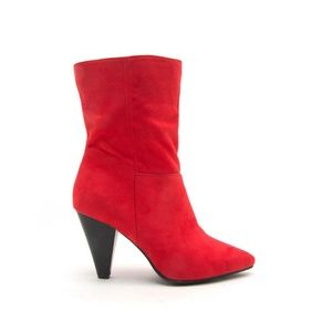 Red Slouch Cone Boots 10